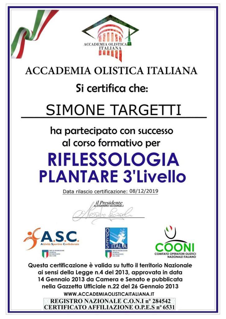 Certificazione Riflessologia Plantare Terzo Livello