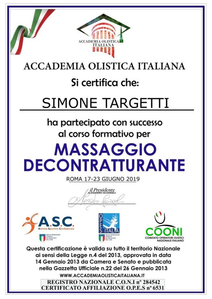 Certificazione Massaggio Decontratturante